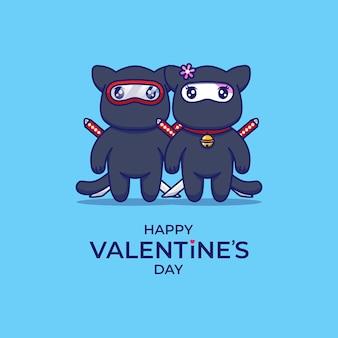 Nettes paar katze ninja mit glücklichem valentinstaggruß