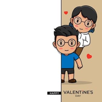 Nettes paar mit glücklichem valentinstaggruß