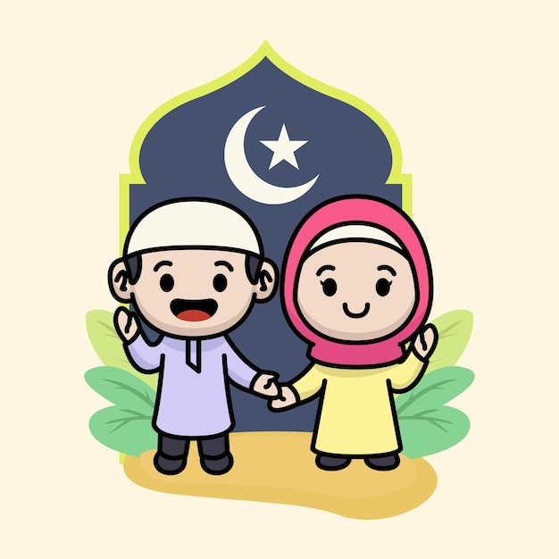 Nettes paar muslimische kinder, die für ramadhan kareem grüßen