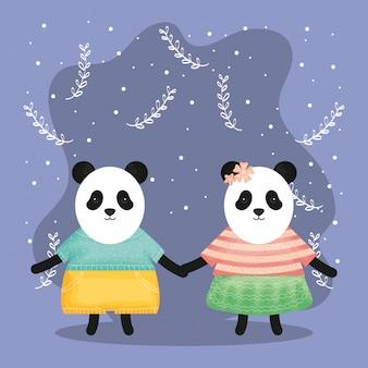 Nettes paar trägt panda mit kleidung zeichen
