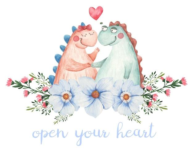 Nettes paar verliebt in dinosaurier in blumen, karte für valentinstag