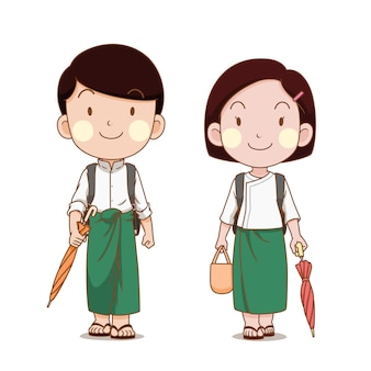 Nettes paar von myanmar-schülern, die zur schule gehen.