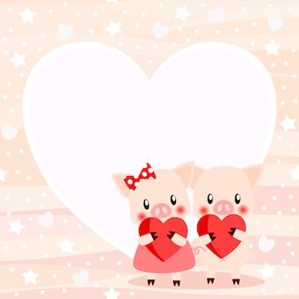 Nettes paarschwein im valentinstaghintergrund.