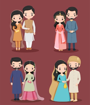 Nettes pakistanisches paar im zeichentrickfilm-zeichensatz des traditionellen kleides