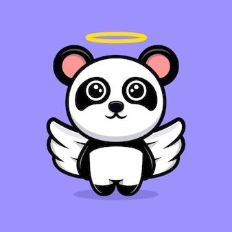 Nettes panda-engel-karikaturmaskottchen Premium Vektoren