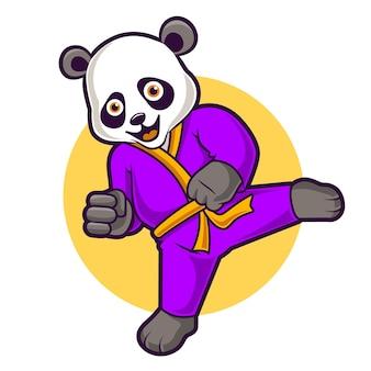 Nettes pandakarate, lustige maskottchenvektorillustration