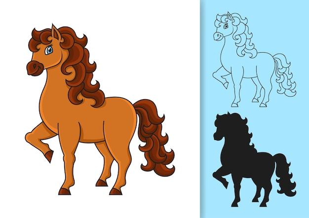 Nettes pferd nutztier schwarze silhouette