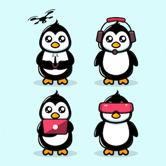 Nettes pinguinmaskottchen modernes technologiethema