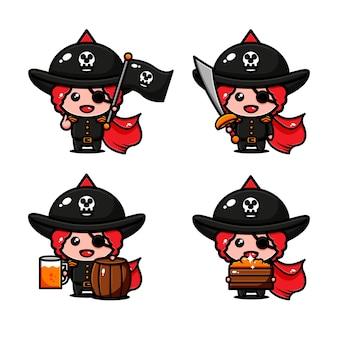 Nettes piraten-charakterdesign-themenorientiertes abenteuer, das von schatz sucht