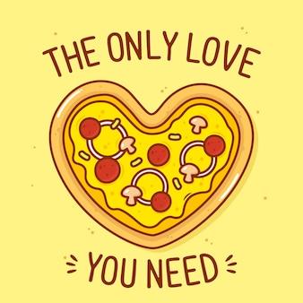 Nettes pizza geformtes herz mit textillustration