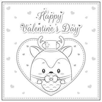 Nettes reh des glücklichen valentinstags, der die große herzskizze der postkarte zum ausmalen zeichnet