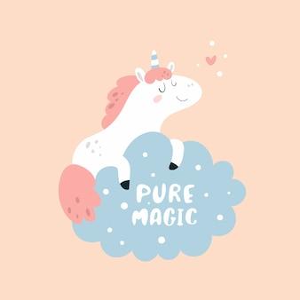 Nettes reizendes kleines ponyeinhorn mit dem herzen, das auf der wolke träumt. pure magie