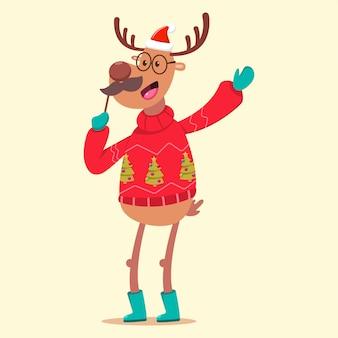 Nettes ren in einer lustigen figur der hässlichen weihnachtsstrickjacken-karikatur an lokalisiert.