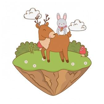 Nettes ren und kaninchen in den feldwaldcharakteren