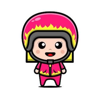 Nettes rennfahrermädchen, das helm- und jackenkarikaturillustration trägt