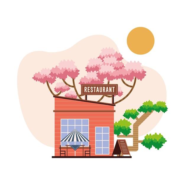 Nettes restaurant mit bäumen