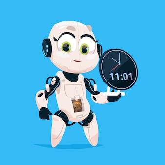 Nettes roboter-griff-uhr-anzeigen-robotermädchen lokalisierte ikone auf blauem hintergrund