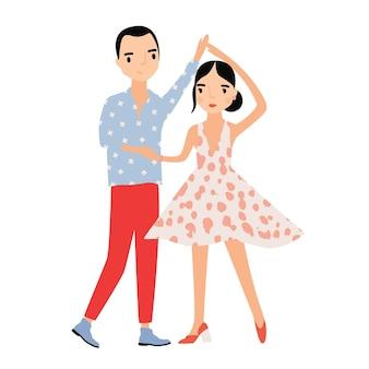 Nettes romantisches paar, das zusammen tanzt