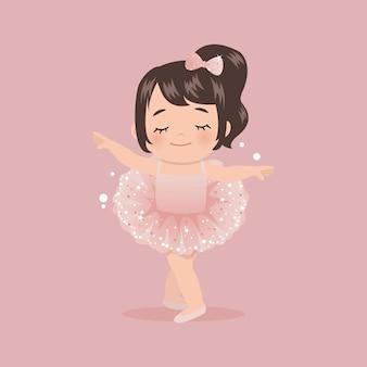 Nettes rosa ballerina-mädchen, das mit tutu-glitzerkleid tanzt. wohnung isoliert.