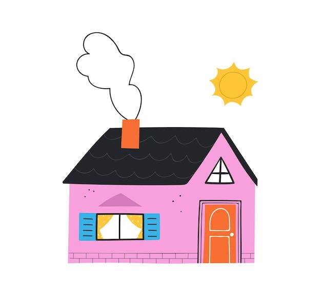Nettes rosa haus. handgezeichnete trendige illustration nach hause.