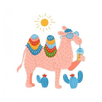Nettes rosa kamel in einer brille mit einem plastikbecher-modell des smoothie.