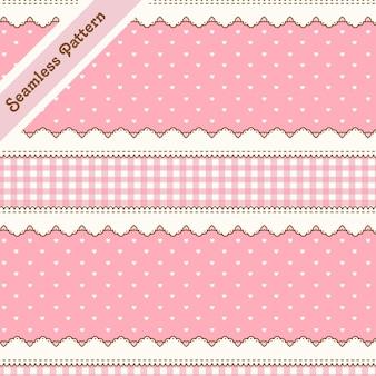 Nettes rosa nahtloses muster mit herzen und spitze premium-vektor