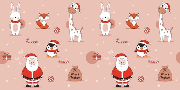 Nettes rosa nahtloses weihnachtsmuster mit pinguinkaninchen-fuchsgiraffe und weihnachtsmann