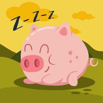 Nettes rosa schwein, das auf grüner graskarikaturillustration schläft. bauernhoftier.