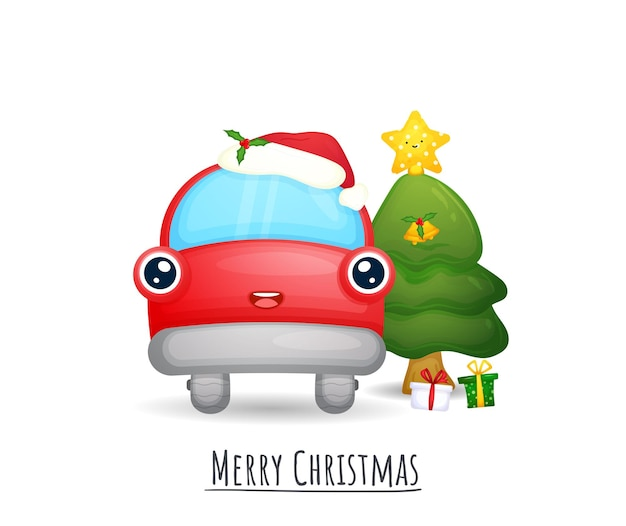 Nettes rotes auto mit weihnachtsmütze für weihnachtsillustrationssatz premium-vektor