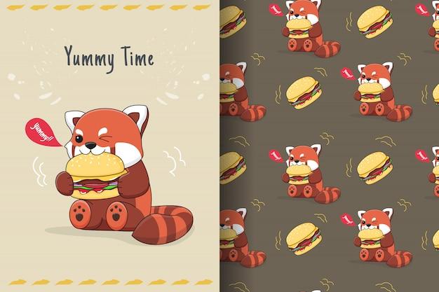Nettes rotes panda burger nahtloses muster und karte