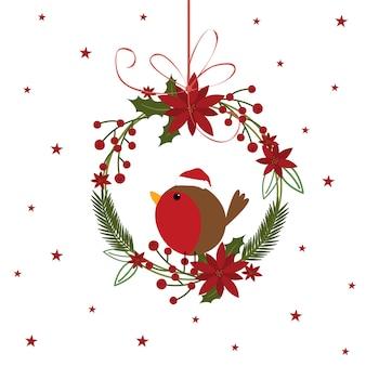 Nettes rotkehlchen in hängender dekoration des weihnachtskranzes