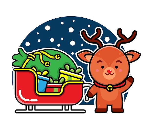 Nettes rotwild auf der zugzeichentrickfilm-figur weihnachtskonzeptillustration