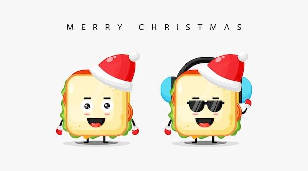 Nettes sandwich-maskottchen, das eine weihnachtsmütze trägt und ihnen frohe weihnachten wünscht