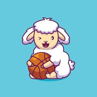 Nettes schaf, das basketballkarikaturillustration hält