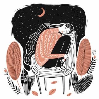 Nettes schlafendes mädchen