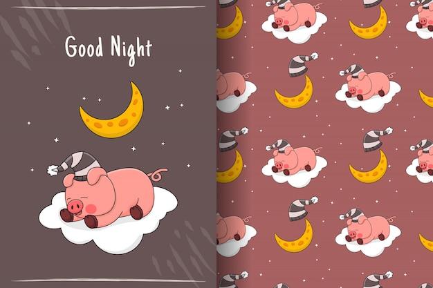 Nettes schlafendes schweinchen auf nahtlosem muster und karte der wolke