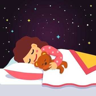 Nettes schlafendes und träumendes mädchen mit teddybär