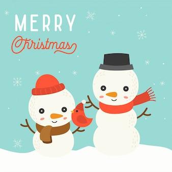 Nettes schneemannweihnachten im winterthema mit schneefällen, bearbeitbare linie im schneemann