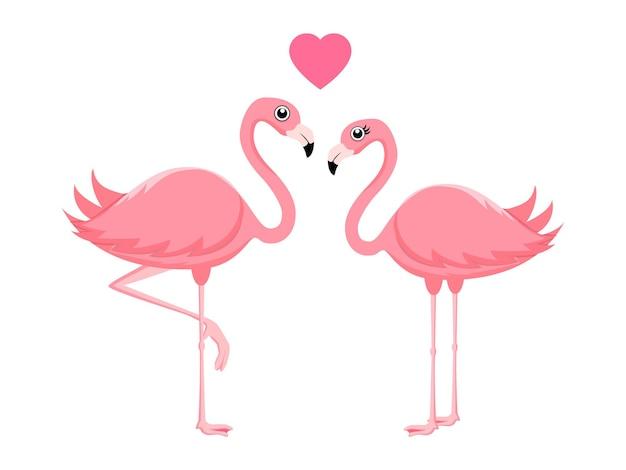 Nettes schönes flamingo-paar, das mit herzform lokalisiert steht