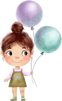 Nettes schönes kleines mädchen, das luftballons lokalisiert auf weiß hält