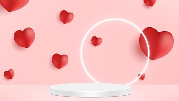 Nettes schönes rosa realistisches herzförmiges podium für produktpräsentation des valentinstags mit dekorativen fallenden papierherzen