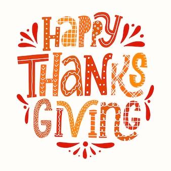Nettes schriftzugzitat 'happy thanksgiving'