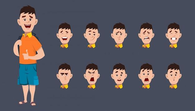 Nettes schuljungencharakter-ausdruckblatt für animation und bewegung