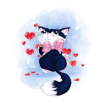 Nettes schwarzes kätzchen mit den weißen tatzen und einem rosa bogen auf seinem hals malt rote herzen auf der wand.