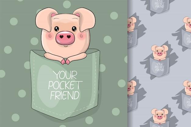 Nettes schwein auf der tasche für kinder