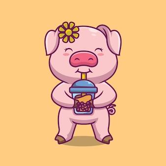 Nettes schwein, das blasentee-karikaturillustration trinkt