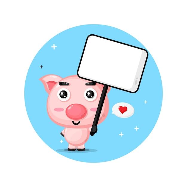Nettes schwein, das ein leeres zeichen hält