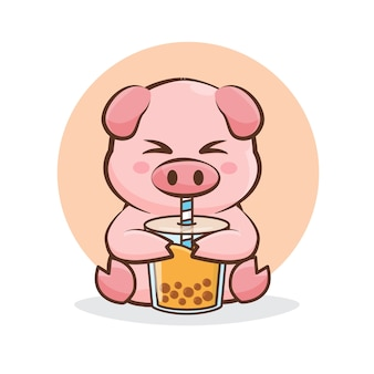 Nettes schwein, das eine karamell-boba-karikaturillustration trinkt.