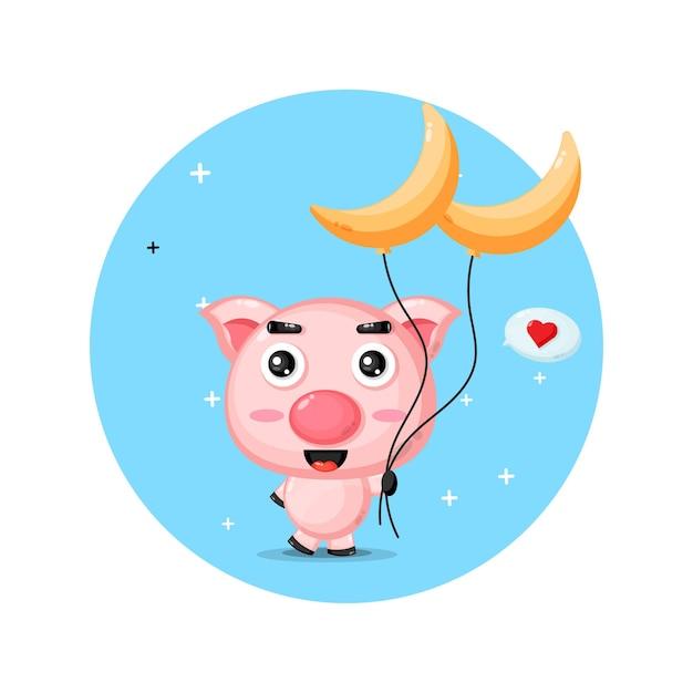Nettes schwein, das einen sichelförmigen ballon trägt