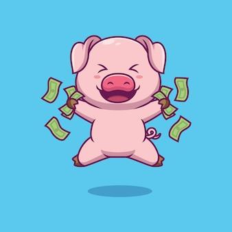 Nettes schwein, das geldkarikaturillustration hält